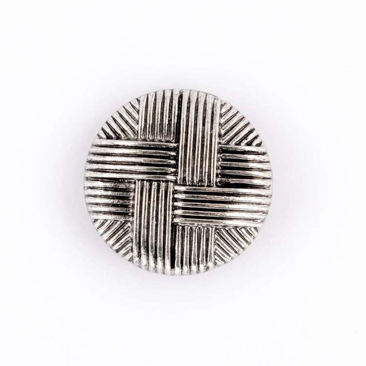Hemline Metal Weave Button  Silver 25 mm