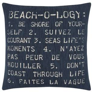 Bouclair Seaside Beach-o-logy Typography Decorative Cushion
