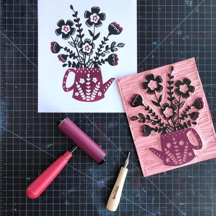 Speedball Block Print Starter Kit Multicoloured