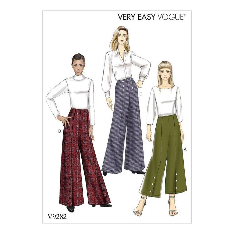 Vogue Pattern V9282 Misses' Pants With Button Detail