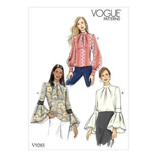 Vogue Pattern V9285 Misses' Top with Sleeve and Cuff Variations