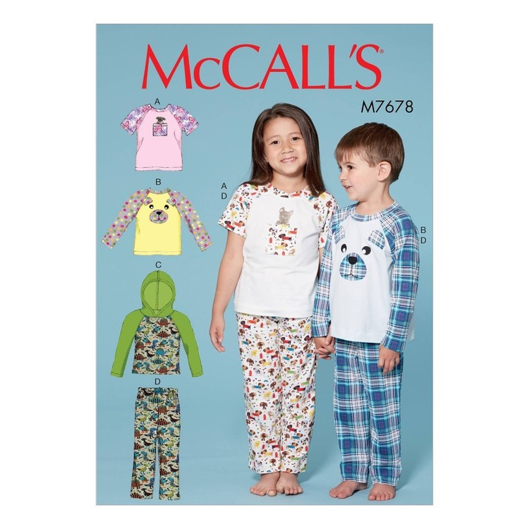 McCall's Pattern M7678 Children's/Boys'/Girls' Animal Themed Tops and Pants
