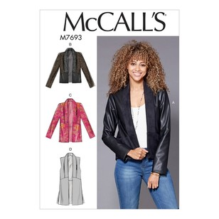 McCall's Pattern M7693 Misses' Shawl Collar Vest and Jackets