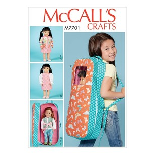 "McCall's Pattern M7701 18"" Doll Clothes and Doll Carrier"