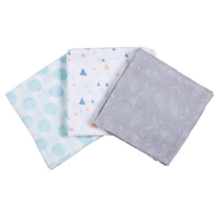 KOO Baby Frankie Printed Muslin Wraps 3 Pack