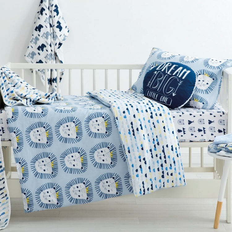 KOO Baby Rory Cot Quilt Cover Set Blue