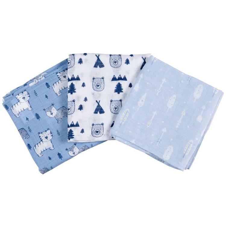 KOO Baby Rory Printed Muslin Wraps 3 Pack