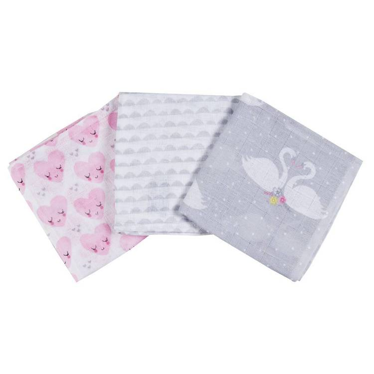 KOO Baby Lottie Printed Muslin Wraps 3 Pack