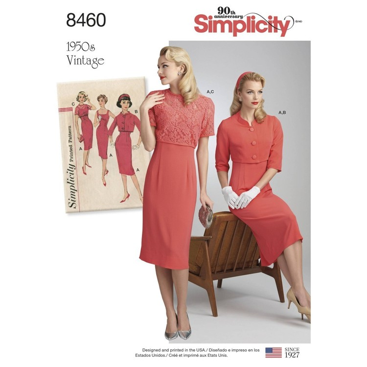 Simplicity Pattern 8460 Misses' Vintage Dress and Jackets