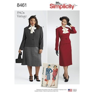 Simplicity Pattern 8461 Misses'/Women's Vintage 2-Piece Suit and Dickey
