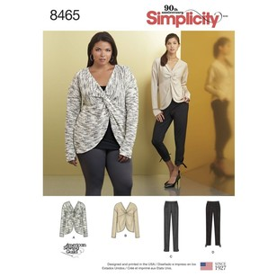 Simplicity 8465 Misses' Knit Twist Tops with Pants