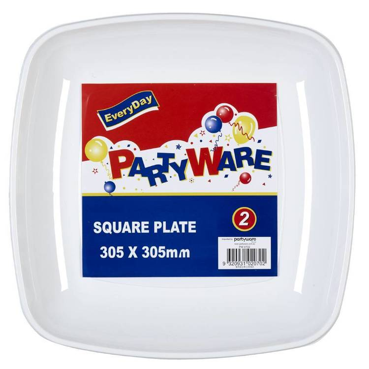 Partyware Square Tray 2 Pack White