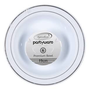 Partyware Heavy Duty Silver Rim Bowl 6 Pack