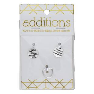 Ribtex Triple Charm Pack Heart-Text 3 Piece
