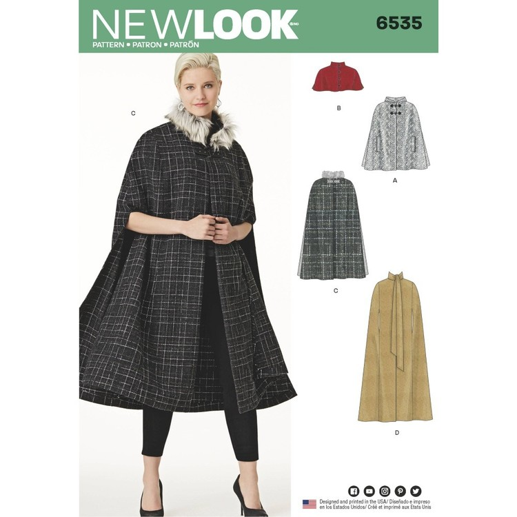 New Look Pattern 6535 Misses' Capes in Four Lengths