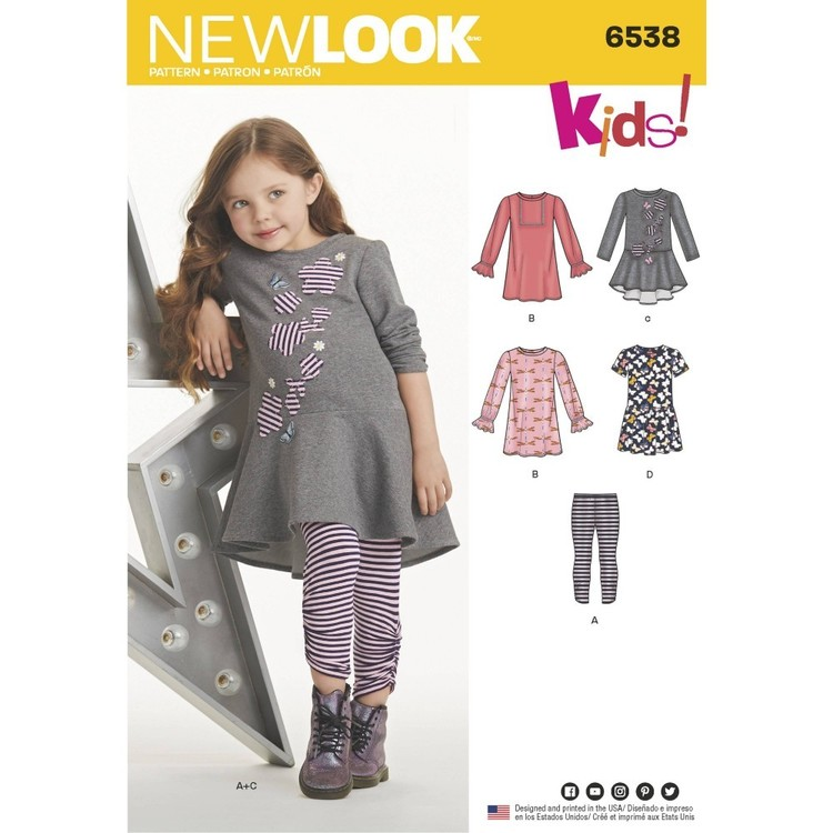 New Look Pattern 6538 Child's Knit Leggings and Dresses