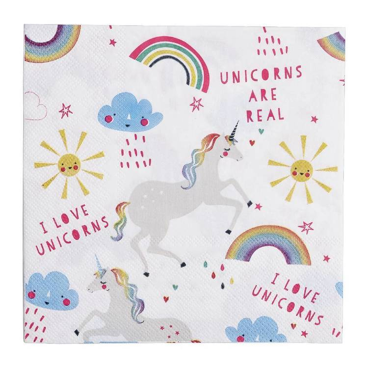 Rainbow Unicorn Paper Napkin