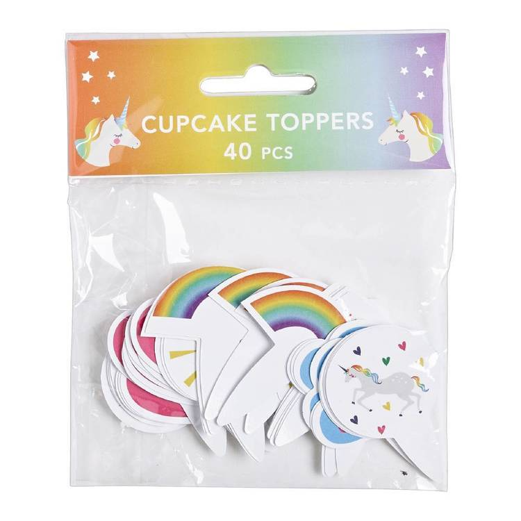 Rainbow Unicorn Cupcake Toppers 40 Pack Multicoloured