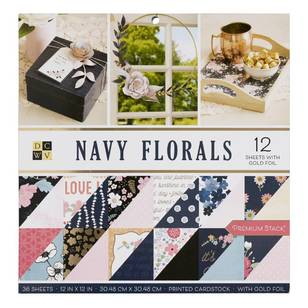 Die Cuts With A View Navy Floral Paper Pad