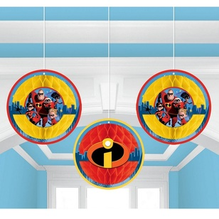 Disney Incredibles 2 Honeycomb Decorations 3 Pack