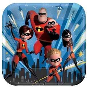 Disney Incredibles 2 Square Plates 9 IN