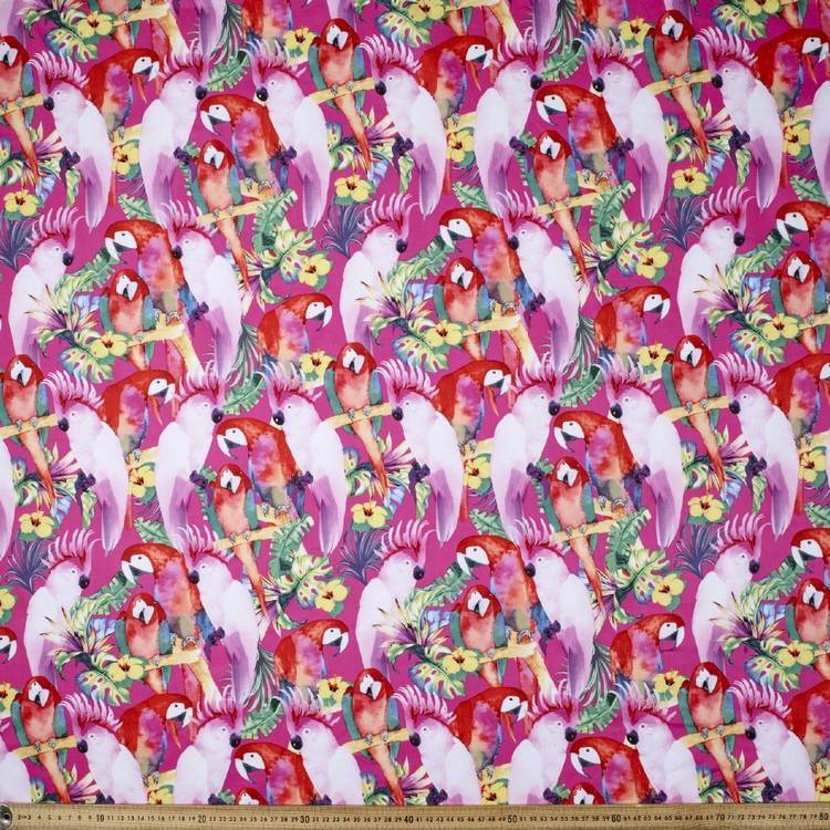 Pink Gallah Printed Poplin Fabric