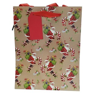Jolly & Joy New Traditions Vintage Santa Medium Gift Bag