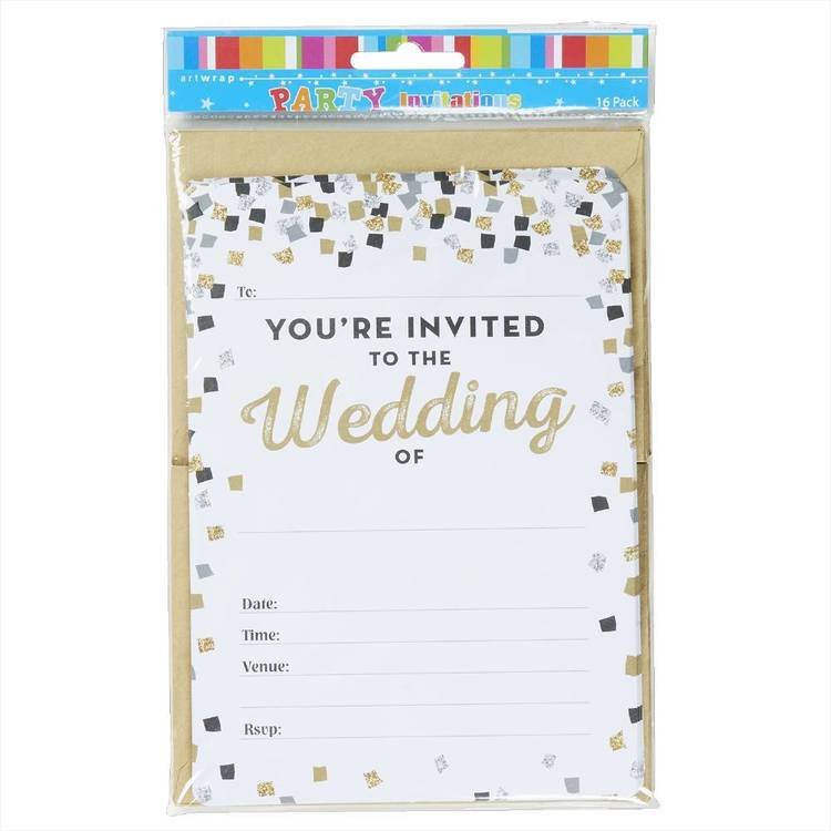 Artwrap Wedding Invitations 16 Pack