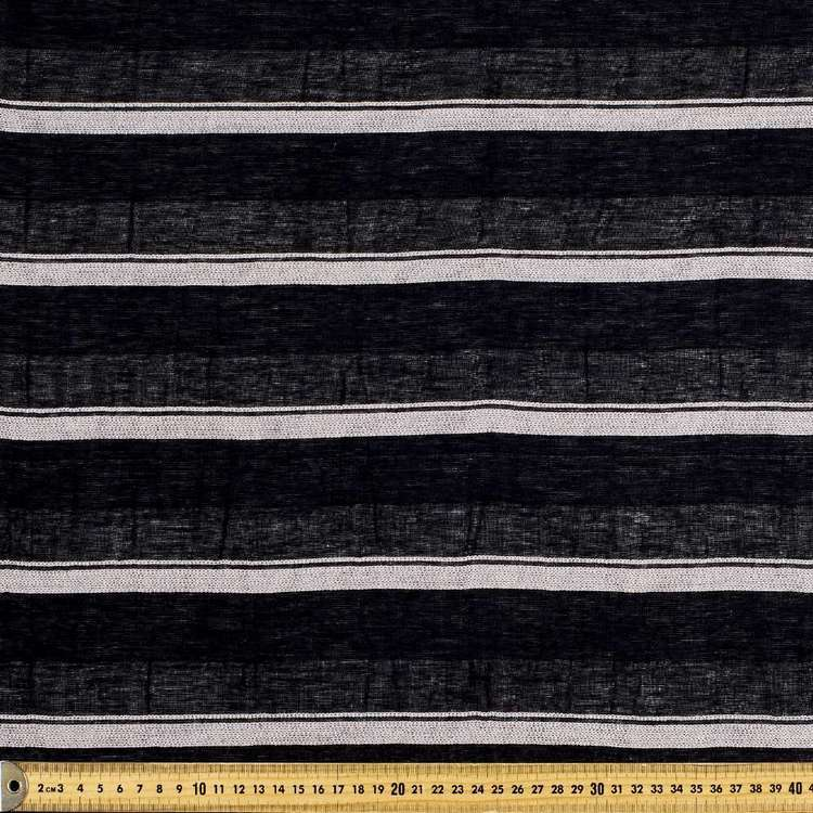 Crinkle Cotton Black White Stripe Fabric