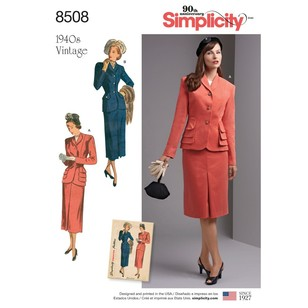 Simplicity Pattern 8508 Misses' & Women's Vintage 2- Piece Suit With Lined Jacket