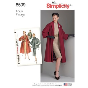 Simplicity Pattern 8509 Misses' Vintage Coat Or Jacket