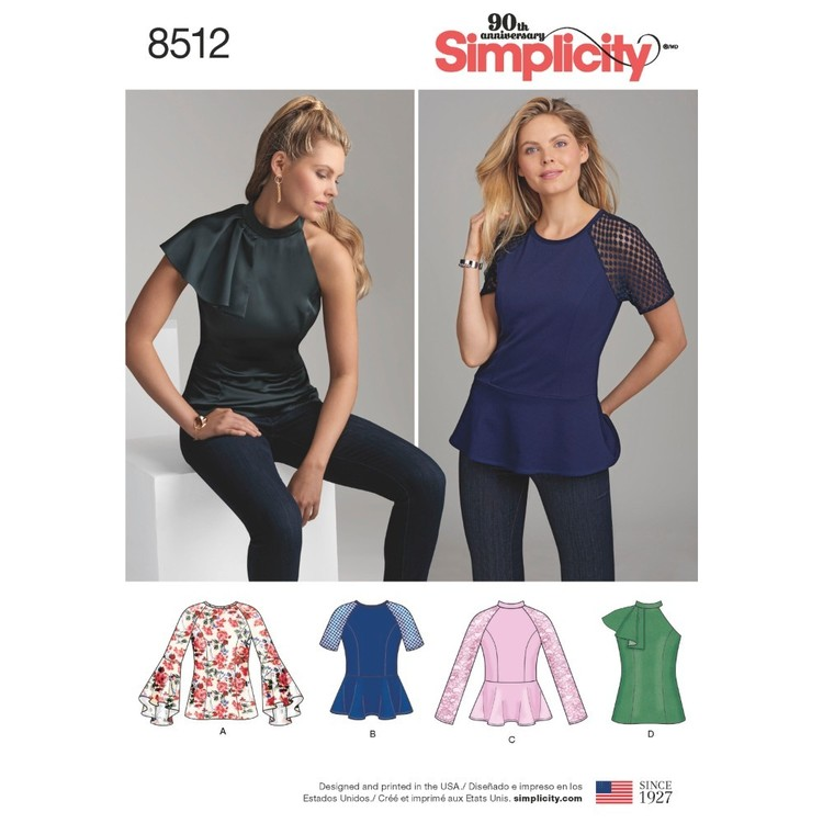 Simplicity Pattern 8512 Misses' & Miss Petite Tops With Sleeve Variations