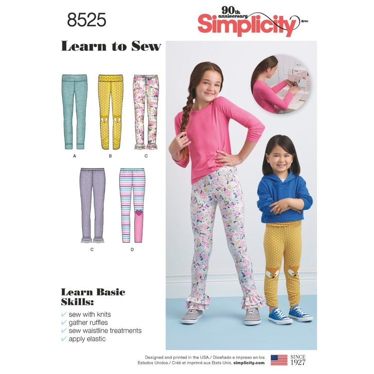 Simplicity Pattern 8525 Child And Girls' Knit Leggings