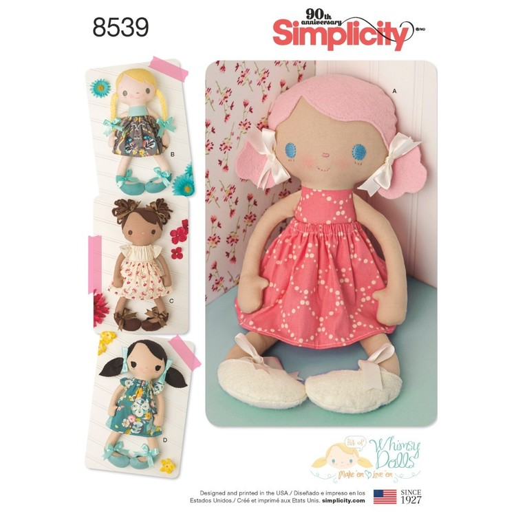 "Simplicity Pattern 8539 15"" Stuffed Dolls And Clothes"