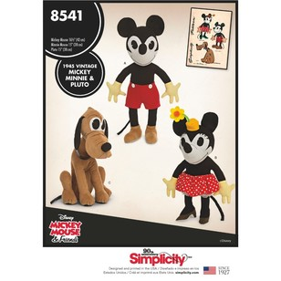 Simplicity Pattern 8541 Vintage Disney Mickey, Minnie And Pluto