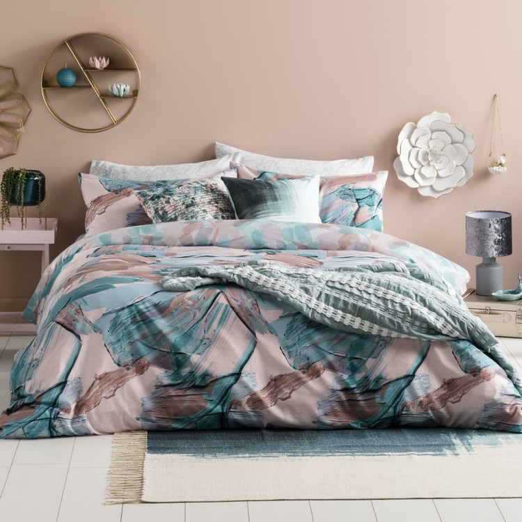 Ombre Home Pastel Abstract Serenity Quilt Cover Set Multicoloured