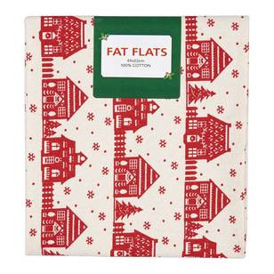 Scandi Christmas Village Flat Fats Fabric