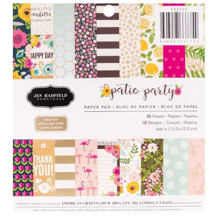American Crafts Jen Hadfield Patio Party 6 Inch Paper Pad