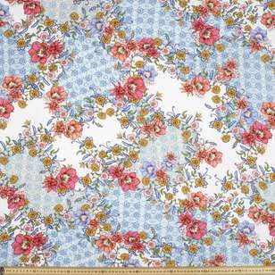 Printed Rayon Patchwork Floral Fabric