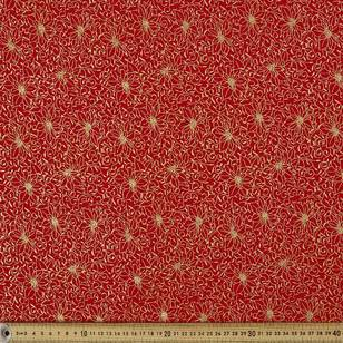 Metallic Christmas Poinsettia Fabric