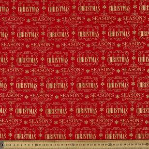 Metallic Christmas Seasons Greetings Fabric