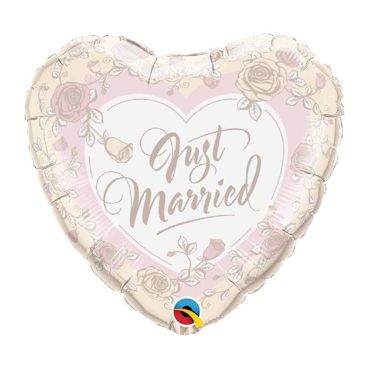 Qualatex Just Married Roses and Heart Foil Balloon