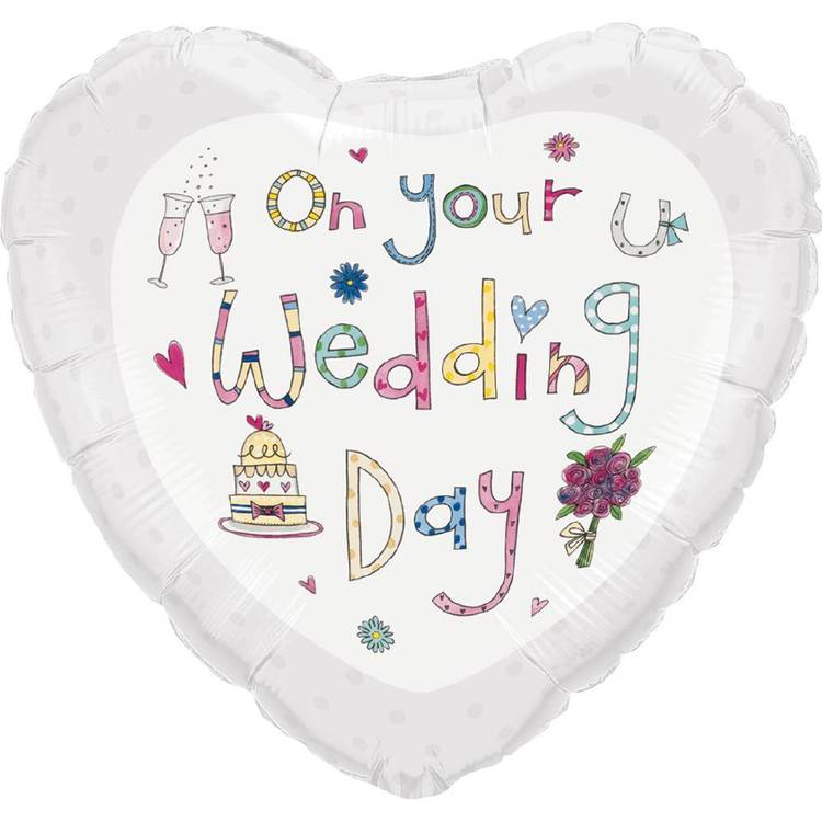 Qualatex On Your Wedding Day Heart Foil Balloon