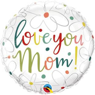 Qualatex Love You Mum Scribble Flowers Foil Balloon