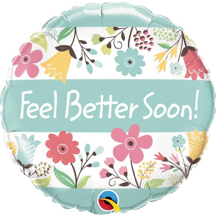 Qualatex Feel Better Soon Floral Foil Balloon