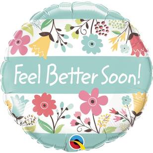 Qualatex Feel Better Soon Floral Foil Balloon