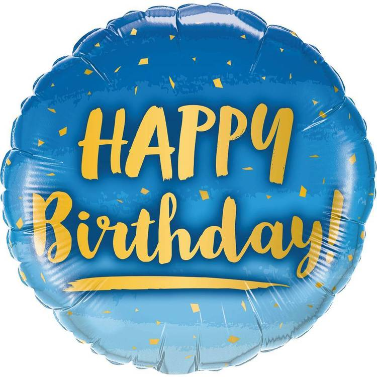 Qualatex Foil Blue and Gold Birthday Balloon