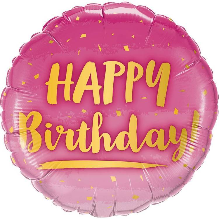 Qualatex Foil Pink and Gold Birthday Balloon  Pink