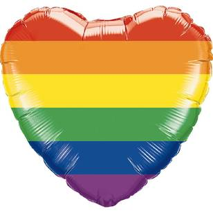 Qualatex Rainbow Stripe Heart Foil Balloon