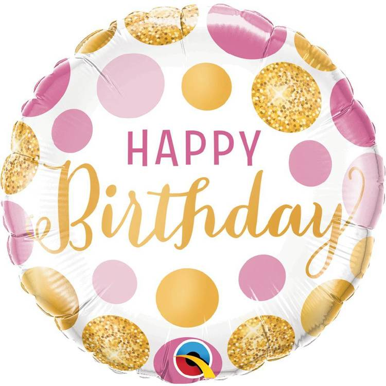 Qualatex Birthday Pink and Gold Dot Foil Balloon White